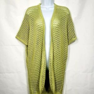 Chico's Green Crochet Open Knit Net Cardigan Sweat